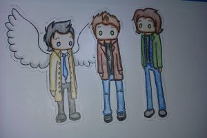 Cas, Dean and Sam by Castielogically