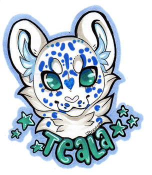 COMM Headshot Badge Snowleopard.Artist by SpookieLee
