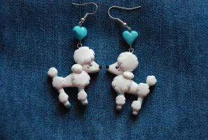 Poodles love earrings by Libellulina