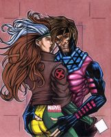 Gambit and Rogue MU2011 AP Sketch Card by chris-foreman