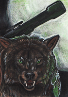 Green Eyes Werewolf ACEO by MorRokko
