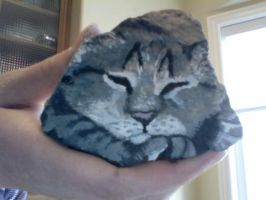 Sleeping Kitty Rock painting by Wispersong-Forever