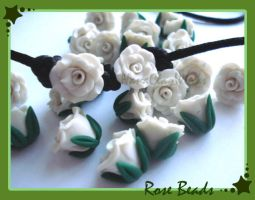 Rose Beads by HanaClayWorks