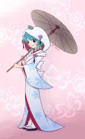 Snow Miku: Strawberry White Kimono Version by phsueh