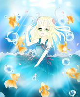 Goldfishes and Summer become one in under sea by Metyuu