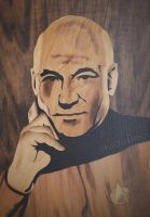 Jean-Luc Picard (Patrick Stewart) marquetry by Andulino
