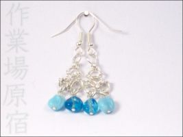Chainmaille and Blue Earrings by StudioHarajuku