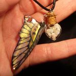 Opalescence - Bottlecharm filled with Opals + Wing by Ganjamira