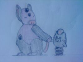 Grumpig and little Spoink by PrincesaNamine