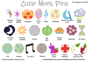 Metal Pony Pins - Cutie Marks by Kanamai