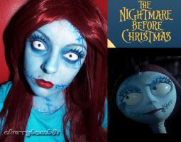 Halloween makeup Sally Nightmare Before Christmas by cherrybomb-81