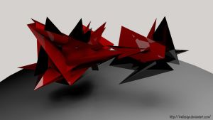Black Red Crystal Abstarct by IRXDESIGN