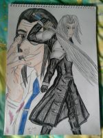 Hojo and Sephiroth coloured by lustyvampire