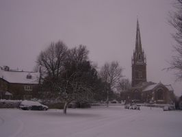 Kings Sutton Church in Snow by goaferboy