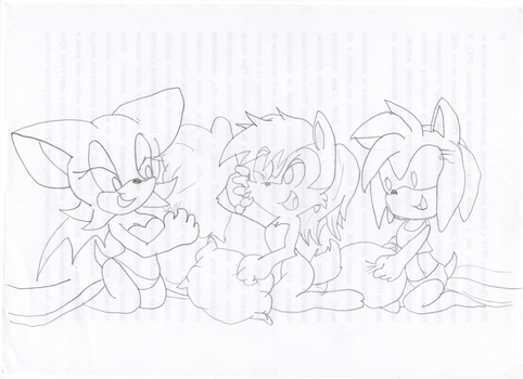 Rouge the Bat, Sally Acorn, Amy Rose by LiJacob888