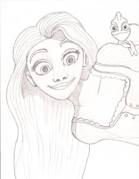 Rapunzel and Pascal by EcCenTricN8tive26