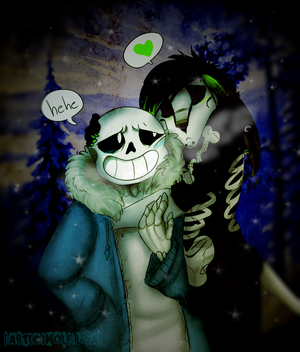 Undertale - Sans and Lupe hug by Wolf-Lisa