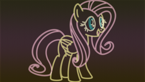 Fluttershy LineArt Neon Wallpaper by GT4tube