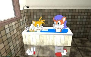 Tails and Conrad having a bath by YRT9401