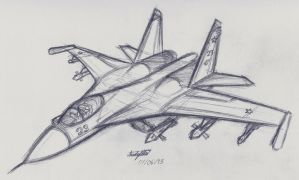 Su-27 Flanker doodle by NDTwoFives