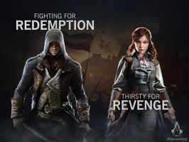 Assassin's Creed Unity Arno D / Elise S Poster 3 by MatrixUnlimited