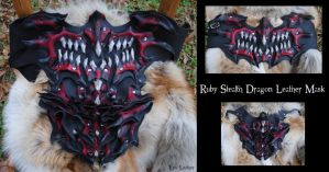Ruby Stealth Dragon Leather Mask by Epic-Leather