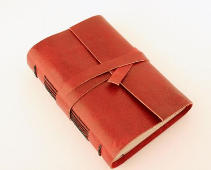 Red leather journal by GatzBcn