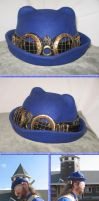 Blue Cat-Eared Bowler with Hatband and Goggles 3 by Windthin