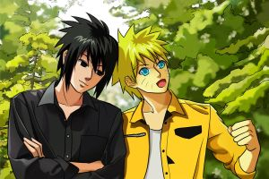 SasuNaru_In the woods by Falcon-Naru