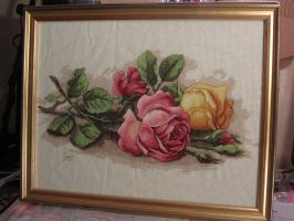 Rose cuttings Cross stitch by Santian69