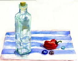 Bottle and Pepper by atnason