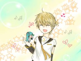 Len having fun with Hatchune Miku by I2ADHS
