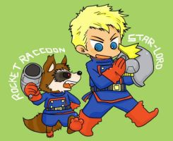 Star-Lord and Rocket Raccoon by kaiko6