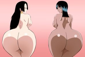 One Piece Nico Robin Boa Hancock Ass Nude Request by Mr123GOKU123