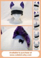 Halloween Cat Hat in Gray with Purple Spider Print by cutekick