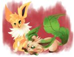 Jolteon and Leafeon by SpaceSmilodon