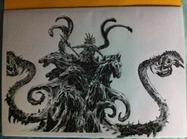 God of War 3 Poseidon drawing by Chriluke