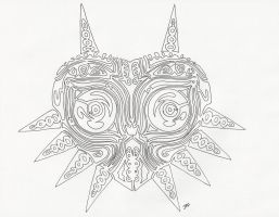 tribal majora's mask line art by neodragonarts