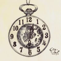 Ballpoint Pen, Half Hunter Pocket Watch II by onecuriouschip