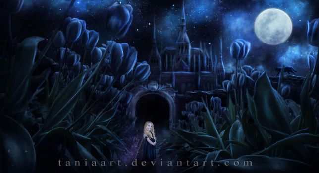 The Garden of Black Tulips by TaniaART