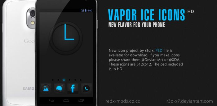 Vapor Ice Icons Pack with PSD by R3D-X7