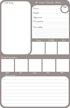3B Comics Character sheets by chronicdoodler