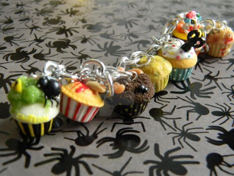 Halloween Themed Cupcake Bracelet-Polymer Clay by ThePetiteShop