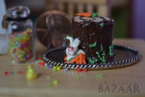 Easter Stump Cake 1:12 Scale by TheMiniatureBazaar