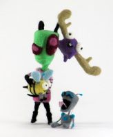 Needle-Felted Zim AND Minions by GlassCamel
