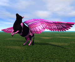 Pink Flying Cow by crazyllama