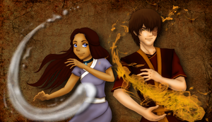 Zuko and Katara - Fire and Water Forever by IveWasHere