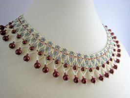 Burgundy Cream Collar Necklace by BeadfulStrings