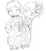 Natsu and Lucy in Yukatas by RainbowMoonCookie99