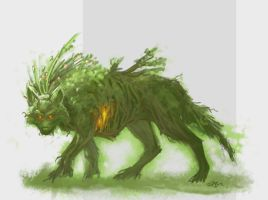 Moss/Tree Wolf by Nervaa